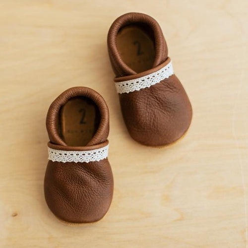 brown baby girl shoes, slip on leather baby moccs for first shoes and baby gifts.