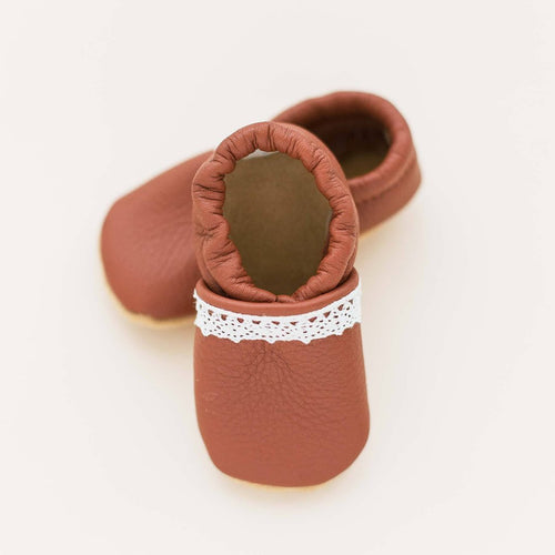 rust leather baby shoes baby moccs