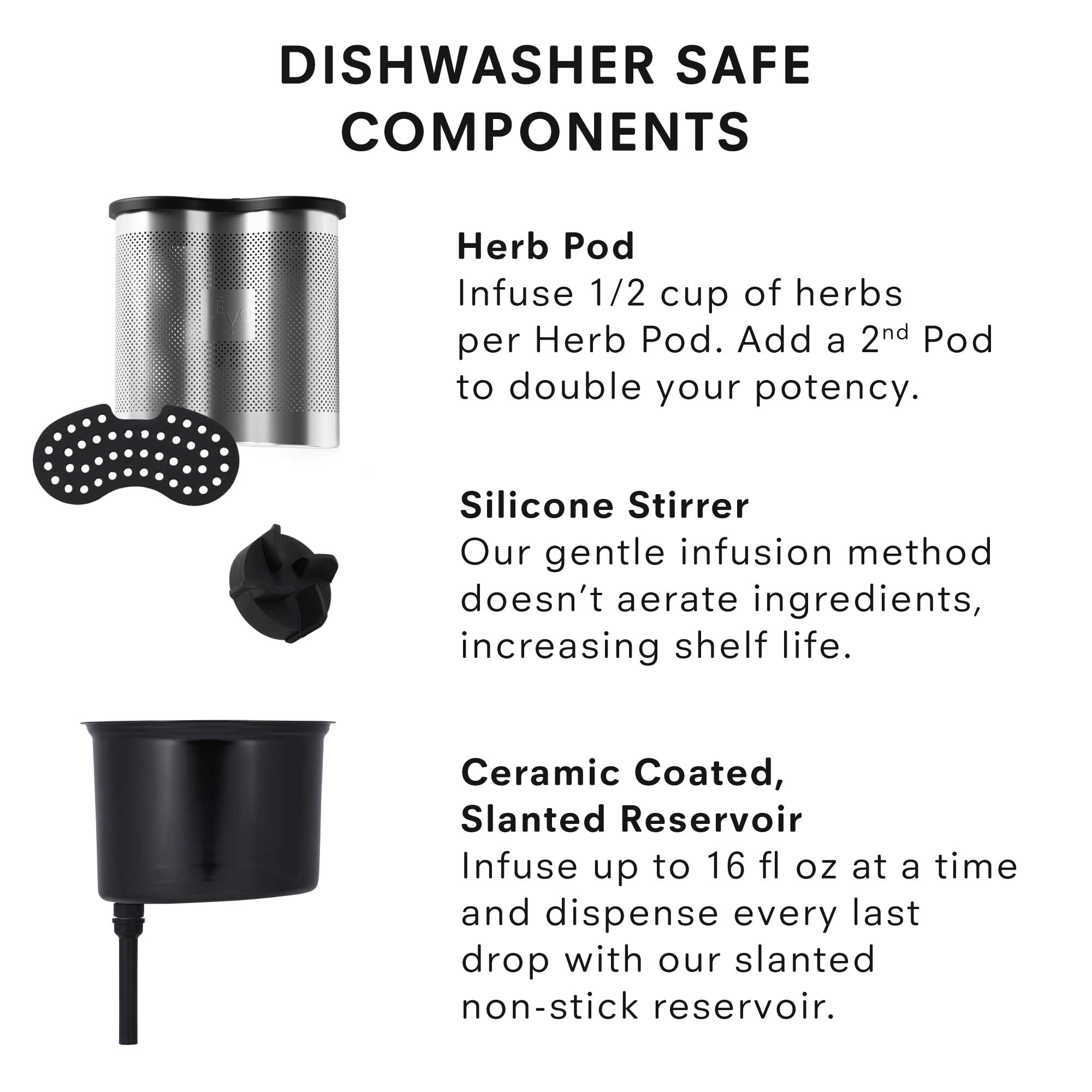 Dishwasher safe components! The LEVO II herb pod and lid, silicone stirrer, and ceramic coated reservoir can all go in the top rack of your dishwasher, making cleanup super simple