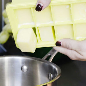 Green Herb Block Tray from LEVO. Safely store your infused butter in the fridge with this silicone herb tray.
