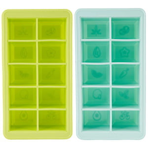 Green and Blue LEVO herb block trays side by side to show the herbal icons that get embossed in the butter or oil.