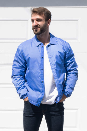 Blouson homme bleu carreauté blanc Minimum