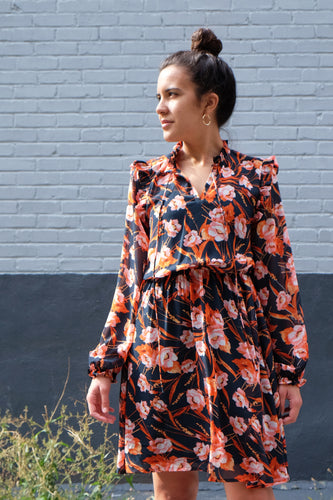Robe cocktail à motif fleuri orange et noire