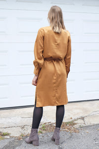 Robe chemisier manches longues ocre - Sparkz