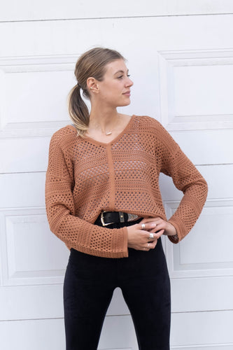Chandail camel en crochet Billabong