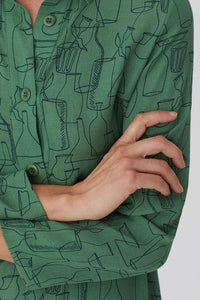 "Robe tunique verte imprimé ""Outline objects print"" - Nice Things"