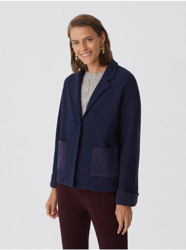 Veste en laine bleue marine - Nice Things