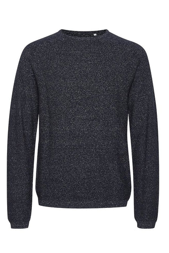 Pull col rond bleu chiné Casual Friday