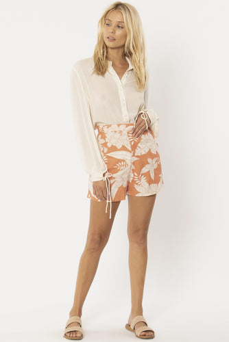 Short en lin motifs fleuris orange Amuse