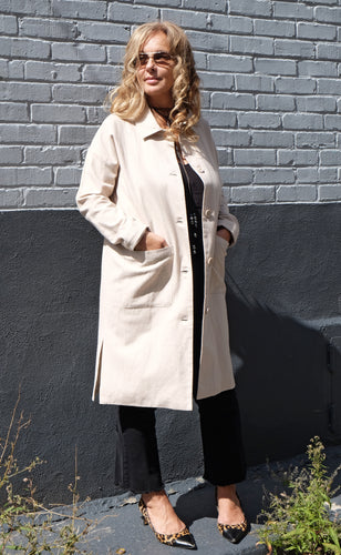 Manteau long de mi-saison écru, coton et lin - Minimum