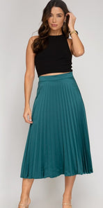 Emerald Pleated Satin Skirt