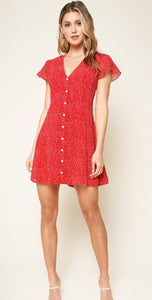Red Fever Button Up Mini Dress