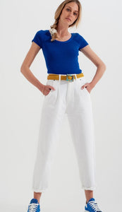High Rise Pleated Mom Jeans