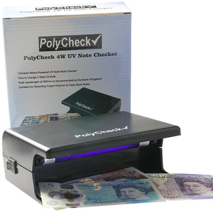 PolyCheck UV Money Checker with Easy-Change 4W Bulb - Detects Fake Polymer & Paper Bank Notes