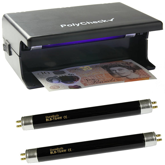 PolyCheck 4W UV Note Checker with 2 Spare DuraBulb Bulbs - Detects Fake Polymer & Paper Bank Notes