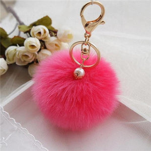 Fashion hairball keychain imiation Rabbit Fur Ball boy girl cute Keychain Bag Plush Car Key Ring Car Key Pendant collection 8cm
