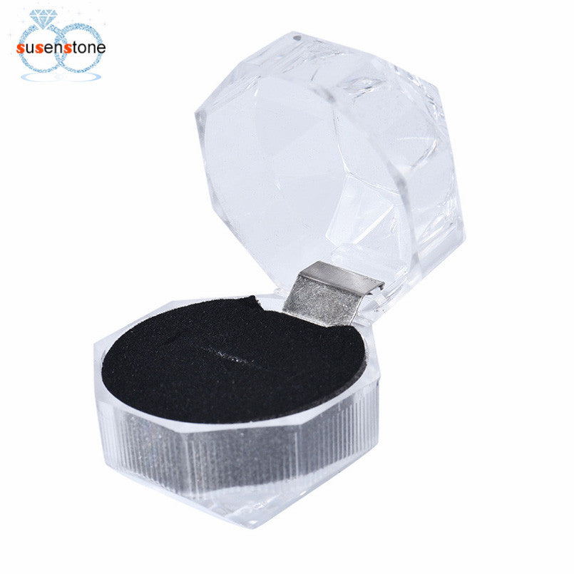 SUSENSTONE Acrylic Jewelry Packing Holder Ring Transparent Gift Box