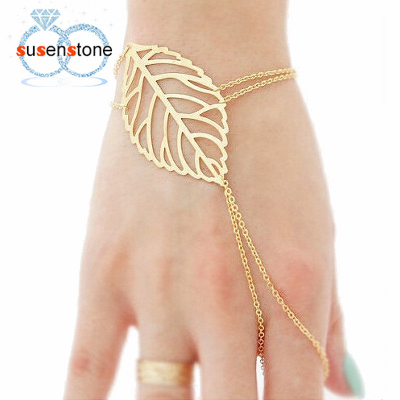 SUSENSTONE 2016 Hot Fashion Women Hollow leaves Finger Bangle Slave Chain Gold Bracelet Alloy bracelets for women