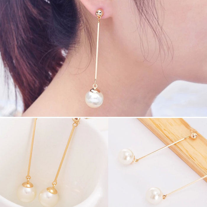 New Fashion OL Womens Imitation Pearl Ear Stud Pearl Long Dangle Earring
