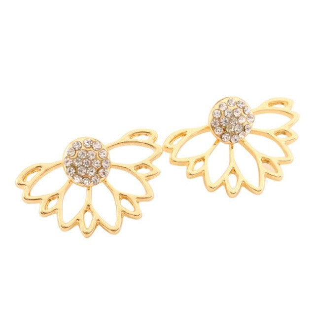 Rinestone Water Drop Simple Earrings For Women Golg Sliver Stud Earrings Rhinestone pierced earrings shaped flowers #30
