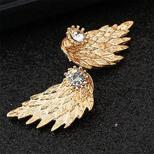 1Pair Women Wing Shape Alloy Ear Stud Imitation Diamond Earrings Jewelry BK