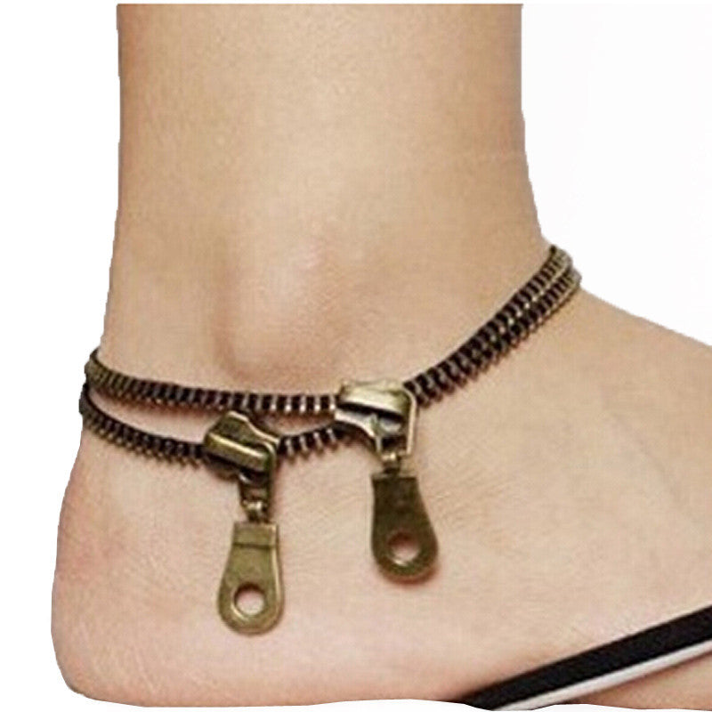 Metal Jewelry Unique Zipper Design Anklet  Bracelet Ladies Accessories
