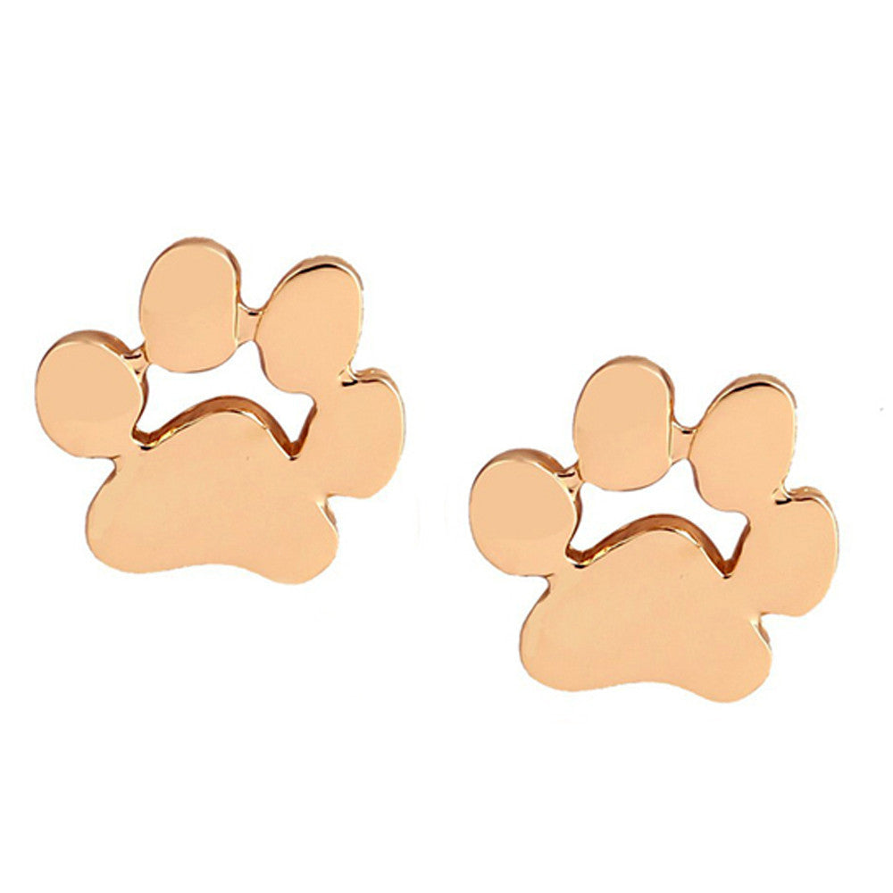 1pair Women Cute Animal Feet Bear's Paw Shape Alloy Ear Stud Earrings Jewelry GD