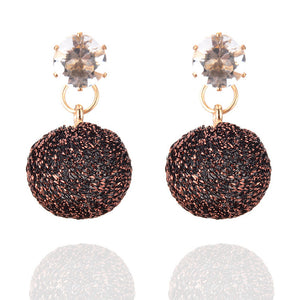 Fashion Round Ball Hohles Metall Bead Short Earring Women Jewelry Earring
