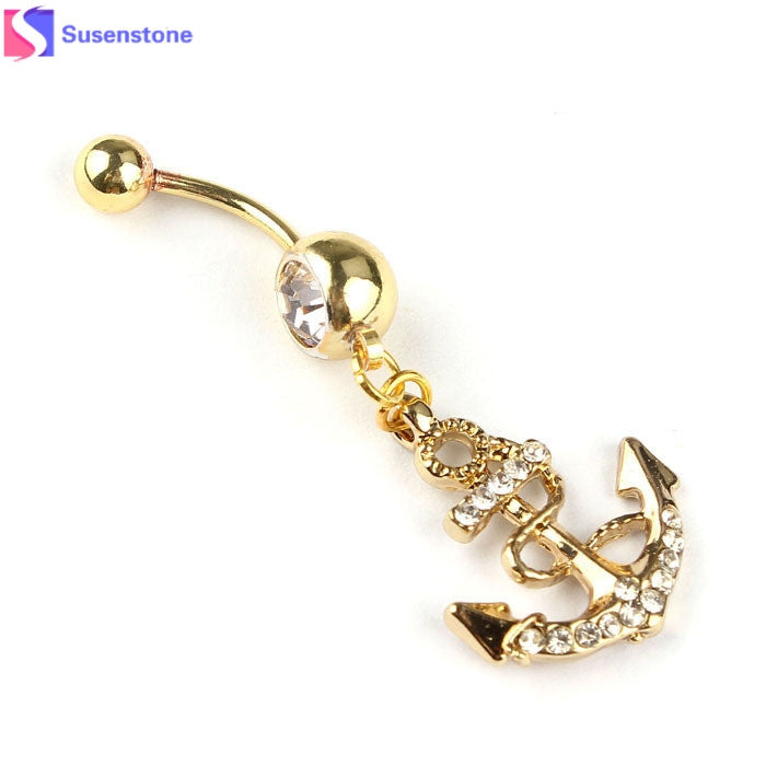 SUSENSTONE Body Jewelry Crystal Dream Catcher Navel Dangle Belly Barbell Button Bar Ring Body piercing Art