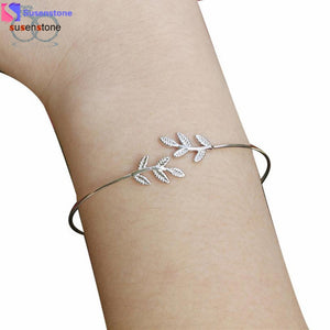 SUSENSTONE Fashion Leaves Women's Bracelet Jewelry