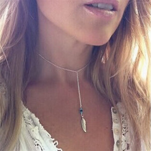 Women Bohemian Turquoise Feather Tassel Pendant Chain Statement Necklace