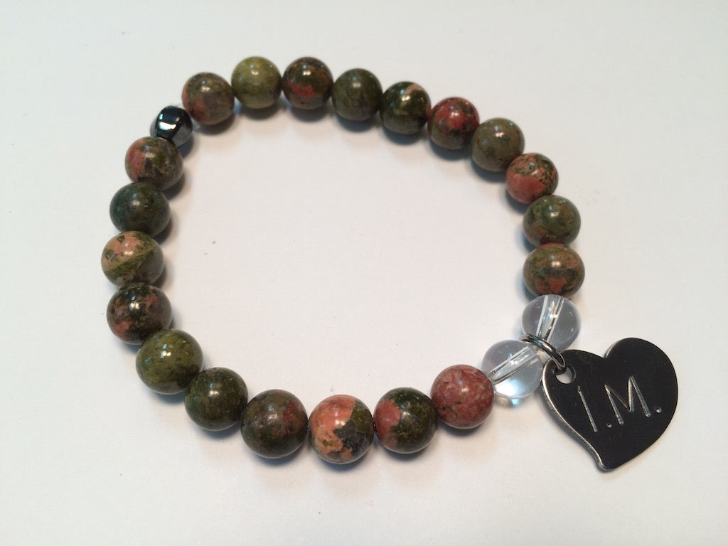 'I am Unstoppable' Gemstone Bracelet - Unakite