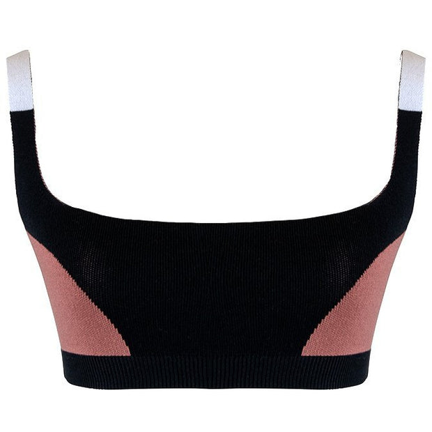 Colour Block Bralet - Black Blush Cream