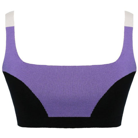 Colour Block Bralet - Lilac Black Cream