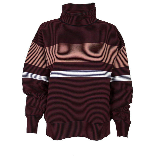 Retro Rib Sweater - Burgundy Black Blush