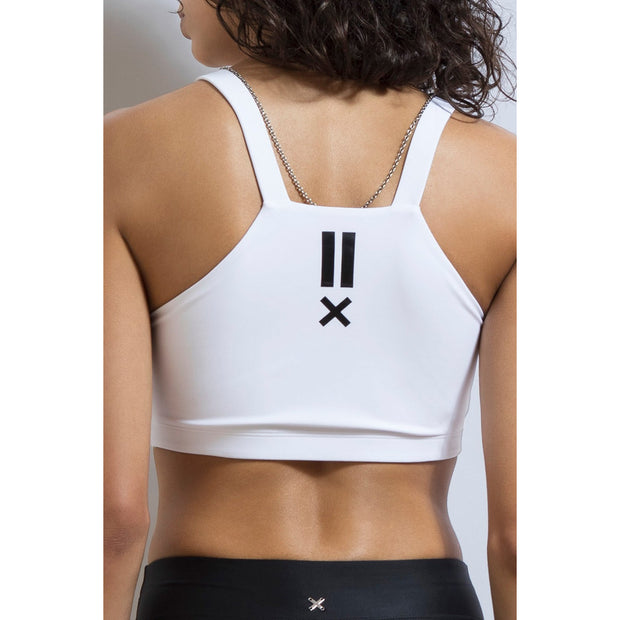 Track Side Crop Top - White