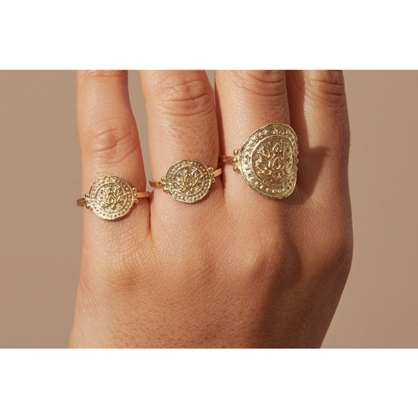 Rose Gold Small Lotus Rising Ring - Prae Store