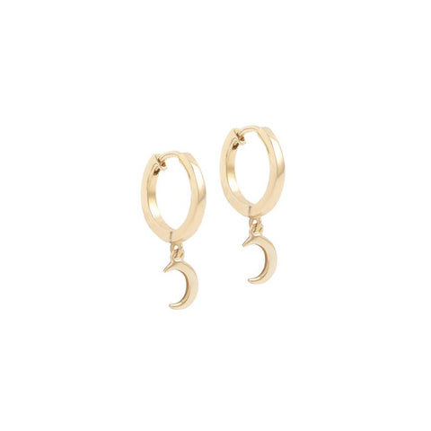 14k Gold Over The Moon Hoops