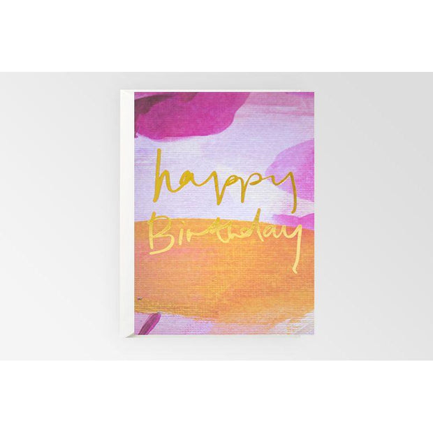 Happy Birthday Card - Purple and Yellow
