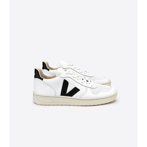Veja - V-10 Leather Extra-White Black - Prae Store