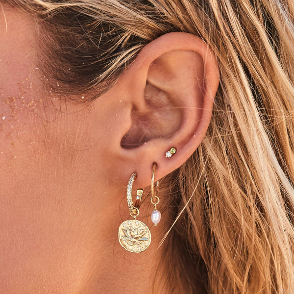 Gold Earth Stud Earrings - Prae Store