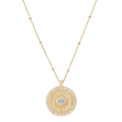 Gold Blessed Eye Necklace - Prae Store