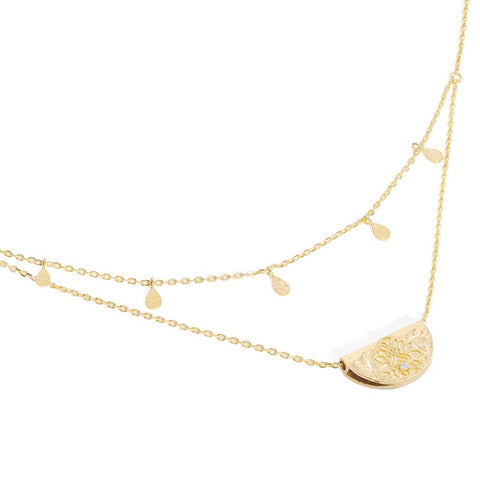Gold Blessed Lotus Necklace