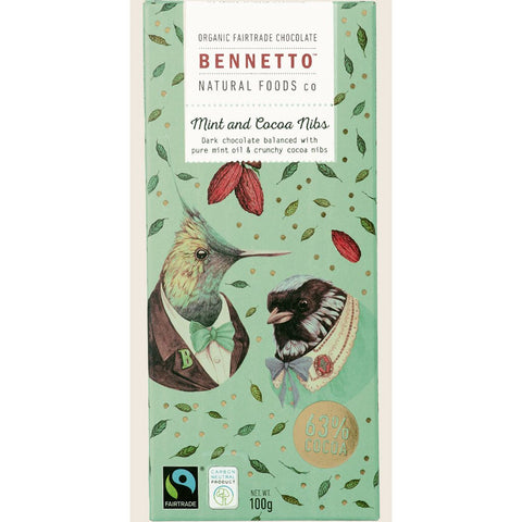Mint And Cocoa Nibs - Organic Dark Chocolate  - Prae Store