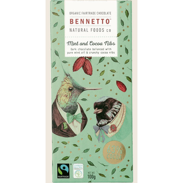 Mint And Cocoa Nibs - Organic Dark Chocolate