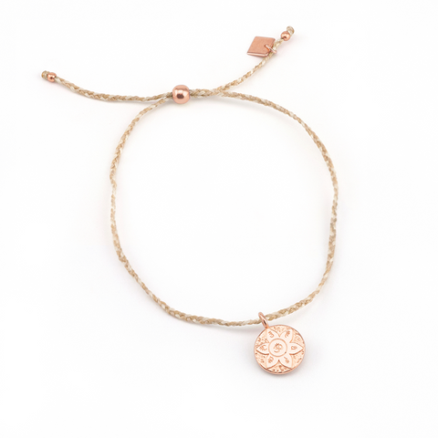 Rose Gold Harmony Tan Cord Bracelet
