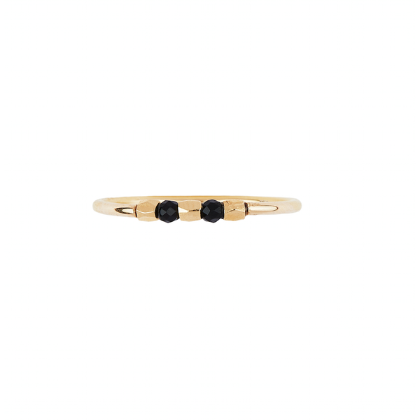 Gold Onyx Temple Ring - Large