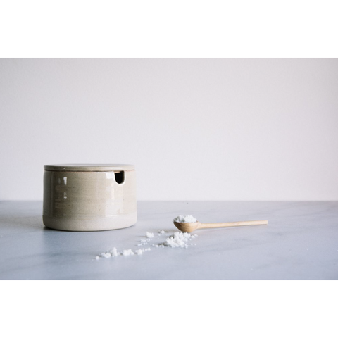 South Golden Salt Pot and Spoon