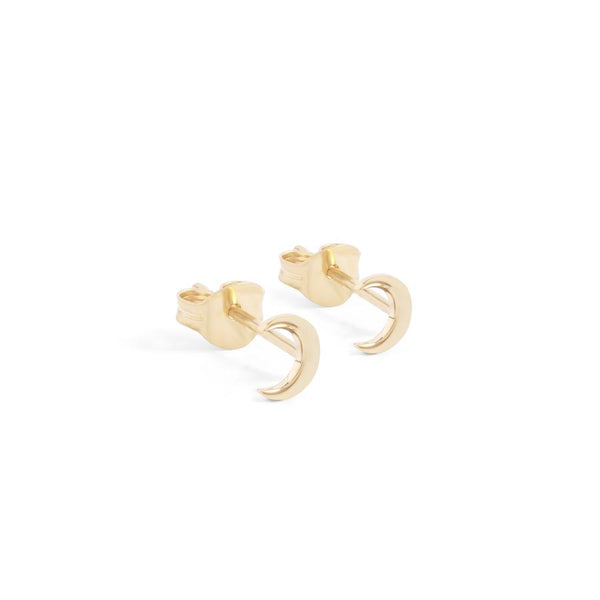 14k Gold Over The Moon Studs - Prae Store