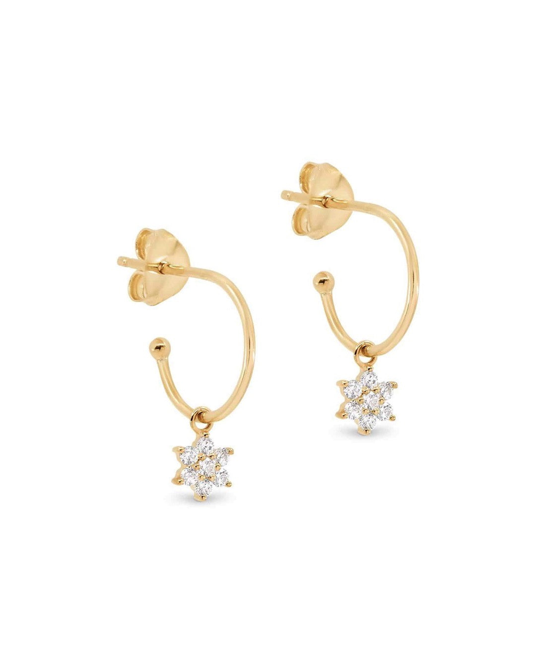 14k Gold Crystal Lotus Flower Hoops - Prae Store